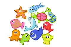 Sea Creatures Toys. On White Background royalty free stock photography