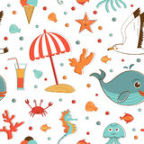 Sea creatures and vacation related items pattern Stock Photography