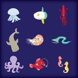 Sea creatures vector. Colorful sea creatures cartoon style Stock Image