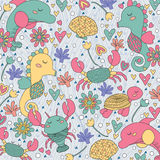 Sea creatures whimsical illustration Stock Images