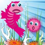 Sea Creatures With Sea Bottom Royalty Free Stock Photos