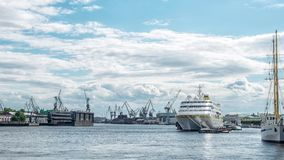 Sea cruise and cargo ships in St. Petersburg stock video