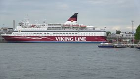 Sea cruise ferry Gabriella in the port of Helsinki stock video footage