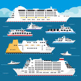 Sea cruise liner vector flat vacation passenger ship Royalty Free Stock Photo