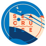 Sea Cruise sign concept. Ocean ship illustration. Vector logo template. Royalty Free Stock Image
