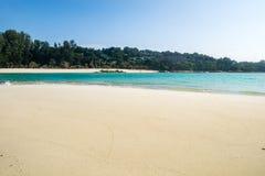 Sea crystal beach white sand smooth on sea Royalty Free Stock Photos