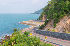 Sea and curve road in Chantaburi, Thailand.  Royalty Free Stock Image