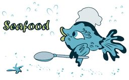 Sea cute fish cook with spoon in fin in cartoon style. Cute, sea fish cook with spoon and Shaka. color, vector seafood illustration for bars, restaurants Royalty Free Stock Image