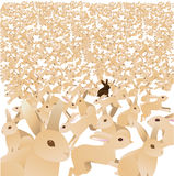 Sea of cute tan bunnies with one brown. EPS 10 Vector royalty free stock illustration for greeting card, invitation, and social media Stock Image