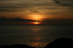 Sea Dawn. Romantic sunset for an unfogettable summer stock photography