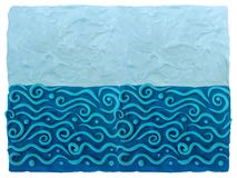 Sea and day sky - blue plasticine background royalty free stock images