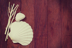 Sea decoration on brown Stock Photography