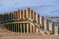 Sea defence groynes Royalty Free Stock Images