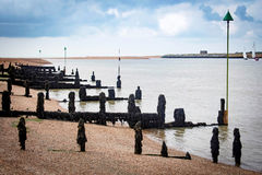 Sea Defence on the tidal river and groynes Royalty Free Stock Image