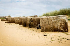 Sea Defence on the tidal river and groynes Royalty Free Stock Images