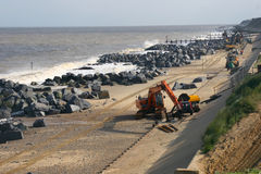 Sea defence work on the East Coast of England Royalty Free Stock Photography