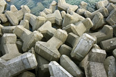 Sea defences. A close-up of concrete sea defences Royalty Free Stock Images