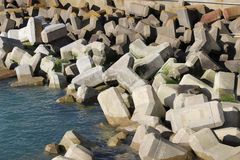 Sea defences at Brighton Marina. In the Winter sun Royalty Free Stock Photography
