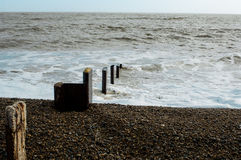 Sea defences on the coast Royalty Free Stock Photo