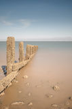 Sea Defences & Offshore Wind Farm, North Wales. Royalty Free Stock Image
