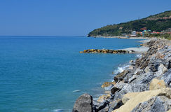 Sea defences. A photo of sea defences along a coastline Stock Images
