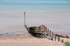 Sea defences. Photo of breakwater sea defences on the coast of whitstable in kent Stock Photos