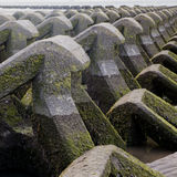 Sea defences. Picture of concrete sea defences on beach Stock Photo