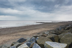Sea defences at Withernsea Beach Stock Photography