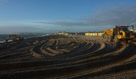 Free Sea Defense Work On Beach. Seaford, Sussex, UK Stock Images - 203327664