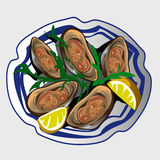 Sea delicacy, oysters with lemon and seasoning. Sea delicacy, fresh oysters with lemon and seasoning on a plate Royalty Free Stock Photo