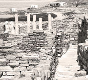Sea in delos greece the historycal acropolis and old ruin site Stock Images