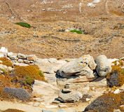 Sea in delos greece the historycal acropolis and old ruin site Royalty Free Stock Photography