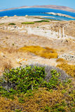 Sea in delos greece the historycal acropolis and old ruin site Royalty Free Stock Image