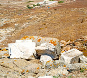 Sea in delos greece the historycal acropolis and old ruin site Royalty Free Stock Images