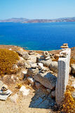 Sea in delos greece  old ruin site Royalty Free Stock Photography