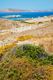 Sea in delos  the  old ruin site Royalty Free Stock Images