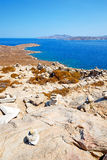 Sea in delos   old ruin site Stock Photo