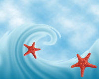 Sea design against the sky. Red starfish on a wave of the sea against the sky. Mounting raster illustration Stock Image