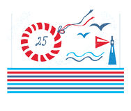 Sea design card for birthday or party stock illustration