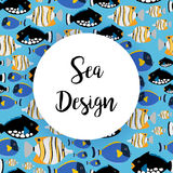 Sea design pattern with ocean fish Royalty Free Stock Image
