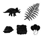 Sea dinosaur,triceratops, prehistoric plant, human skull. Dinosaur and prehistoric period set collection icons in black. Style vector symbol stock illustration Stock Photography