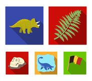 Sea dinosaur,triceratops, prehistoric plant, human skull. Dinosaur and prehistoric period set collection icons in flat. Style vector symbol stock illustration Stock Images