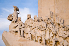 Sea-Discoveries monument in Lisbon. Sculpture on the Discoveries Age and Portuguese navigators in Lisbon, Portugal Stock Image
