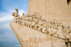 Sea-Discoveries monument in Lisbon. Sculpture on the Discoveries Age and Portuguese navigators in Lisbon, Portugal Royalty Free Stock Image