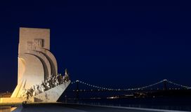 Sea-Discoveries monument in Lisbon at night. Padrão dos Descobrimentos (Monument to the Discoveries) is a monument on the northern margin of the Tagus River Royalty Free Stock Images