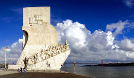 Sea-Discoveries monument in Lisbon, Portugal. Sea Discoveries monument (Padrão dos Descobrimentos) in Lisbon, Portugal. Navigators statues (Sea Discoveries Royalty Free Stock Photo
