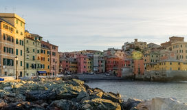 The sea district of Boccadasse, in Genoa, during the dawn Royalty Free Stock Photo