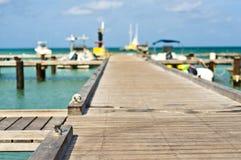 Sea dock in Aruba. Beautiful and colorful dock in Aruba Stock Photos