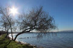 Sea and dock. A beautiful day in the harbor of çanakkale in January Royalty Free Stock Images