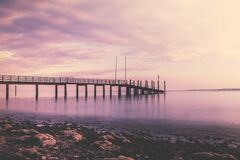 Sea Dock during Golden Hour royalty free stock photography